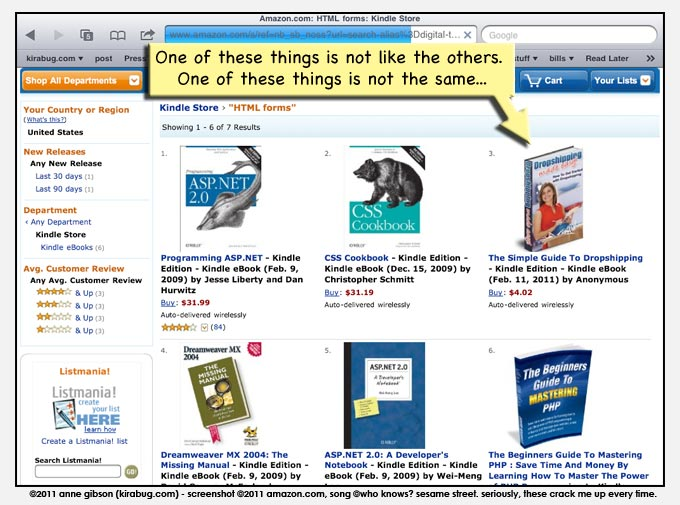 amazon search results for 'html forms': 5 html books, 1 book on dropshipping. Maybe dropshippers use a lot of html forms?