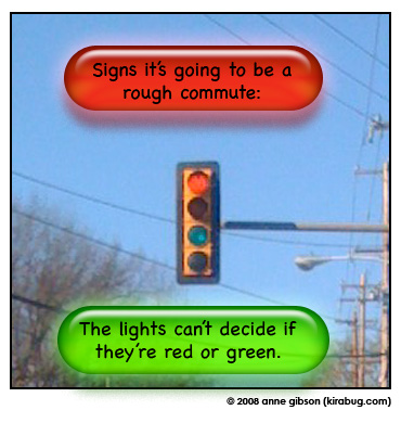 red light on, yellow light off, green light on, arrow off.