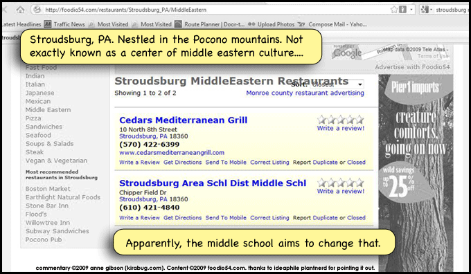 Yeah, I just don't see myself going to the middle school ANYWHERE for good middle-eastern fare.